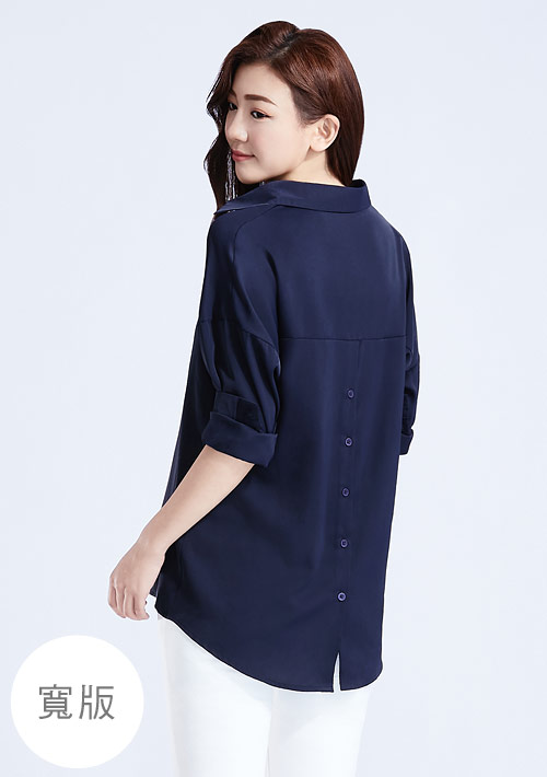 開襟領寬版襯衫