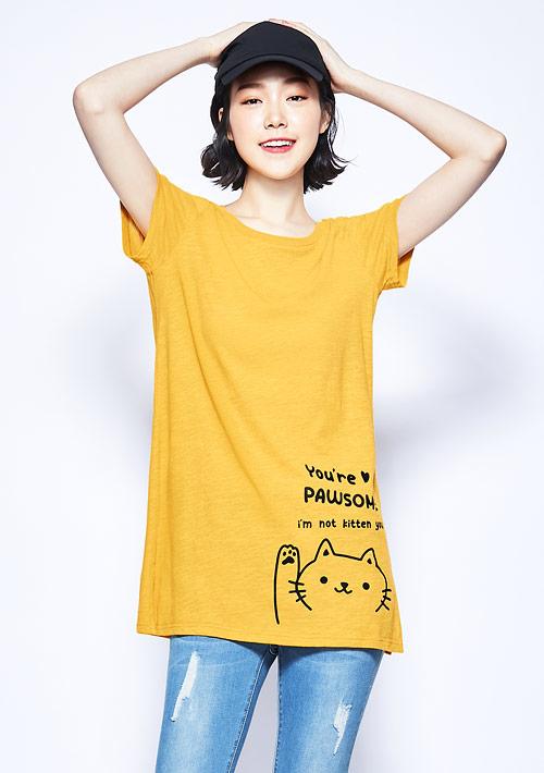 可愛貓咪竹節棉長版印花T恤