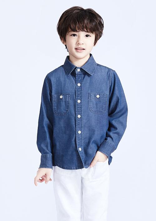 嫘縈長袖襯衫-童裝