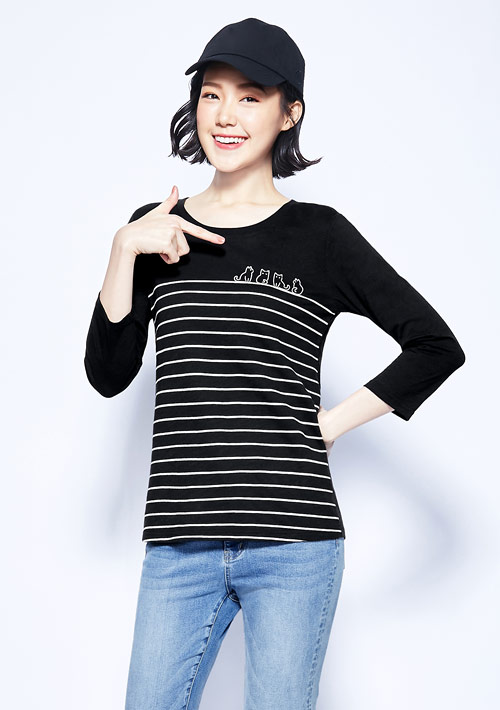 貓咪條紋竹節棉七分袖印花T恤