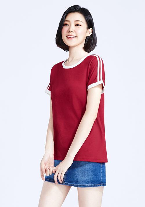 羅紋配色純棉條紋袖T恤