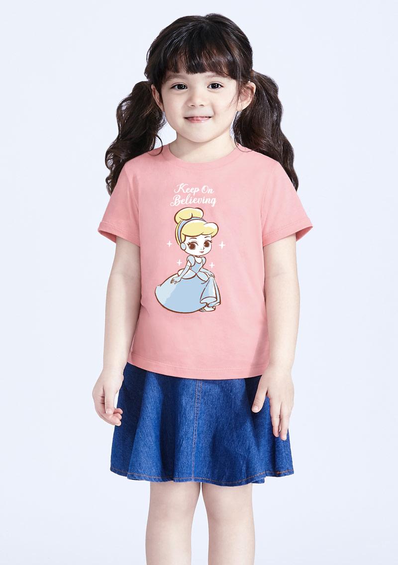 迪士尼公主系列純棉印花T恤-童裝-01