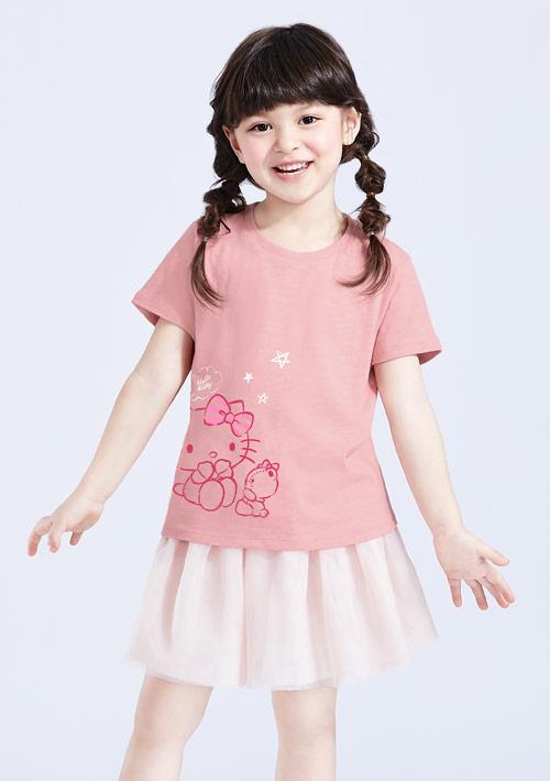 Hello Kitty 小熊竹節棉印花T恤-童裝-01