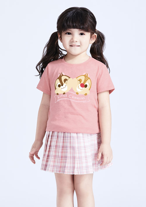 迪士尼奇奇蒂蒂系列竹節棉印花T恤-童裝-01