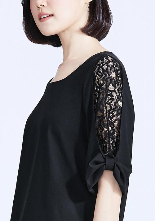 輕柔蕾絲造型袖上衣
