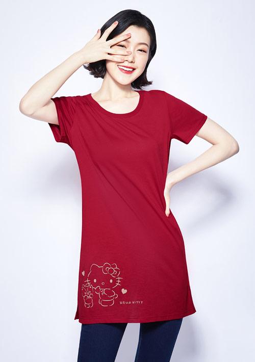 Hello Kitty 小熊純棉長版印花T恤-01