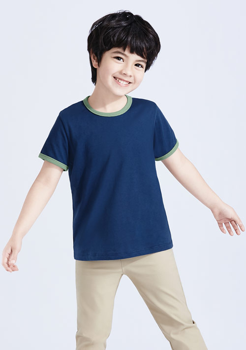 羅紋配色純棉T恤-童裝
