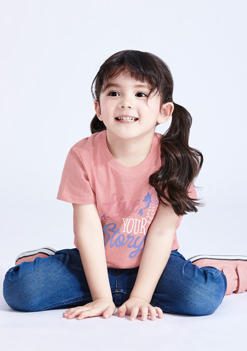 迪士尼公主系列竹節棉印花T恤-童裝-01