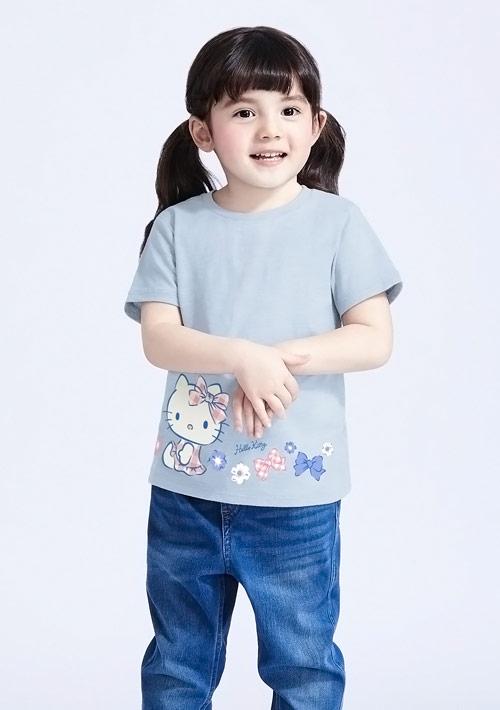 Hello Kitty 竹節棉印花T恤-童裝-01