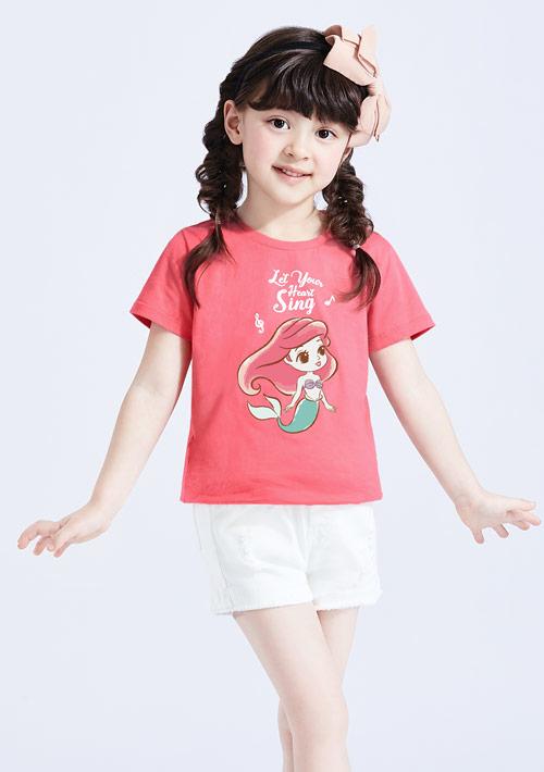 迪士尼公主系列純棉印花T恤-童裝-02