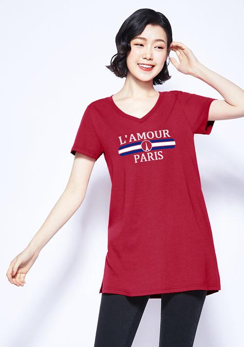 鐵塔純棉V領長版印花T恤