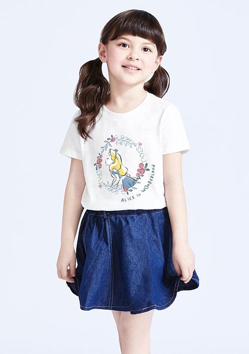 迪士尼公主系列竹節棉印花T恤-童裝-02