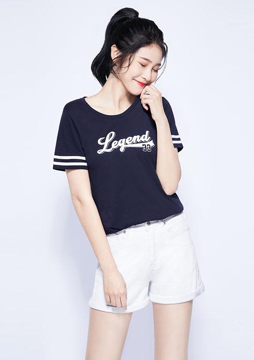 字母純棉條紋袖印花T恤