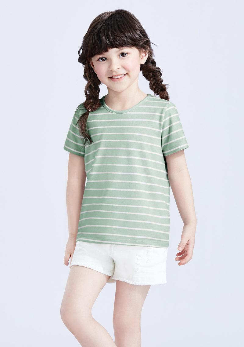 特級四面彈性圓領條紋上衣-童裝