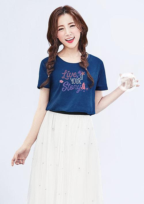 迪士尼公主系列竹節棉長版印花T恤-01