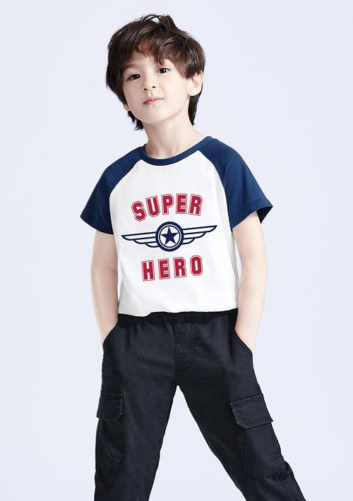 超級英雄純棉配色印花T恤-童裝