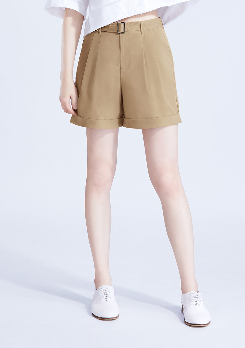 打褶短褲-附腰帶