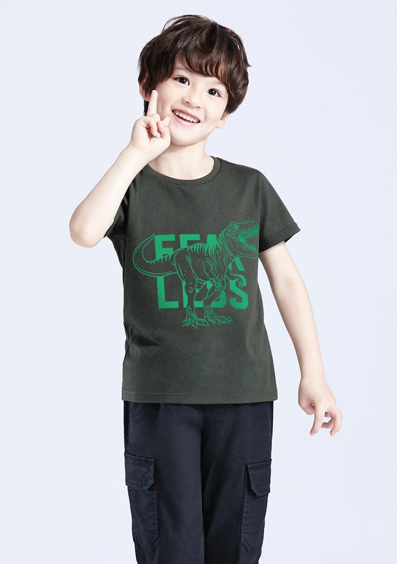 夜光恐龍純棉印花T恤-童裝