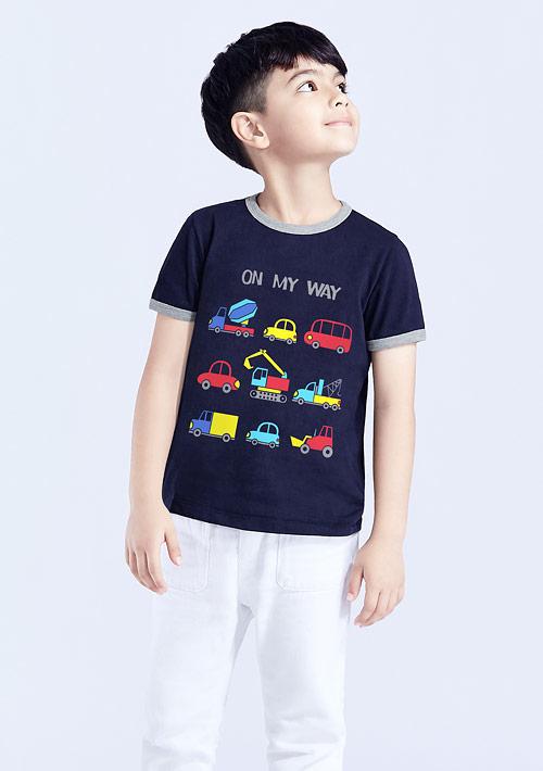 車子羅紋配色純棉印花T恤-童裝