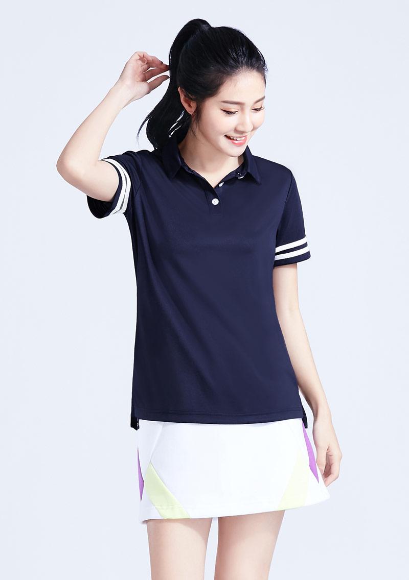 抗UV吸排條紋袖polo衫