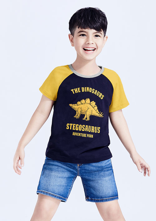 恐龍印花純棉配色T恤-童裝
