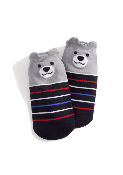 熊熊條紋涼感短襪