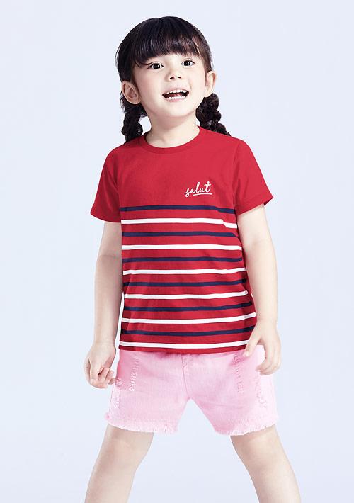 條紋純棉印花T恤-童裝