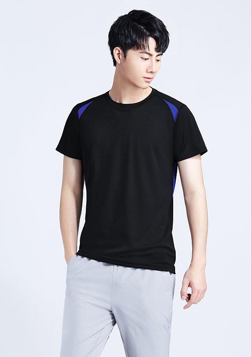 抗UV吸排拼色圓領上衣-男裝