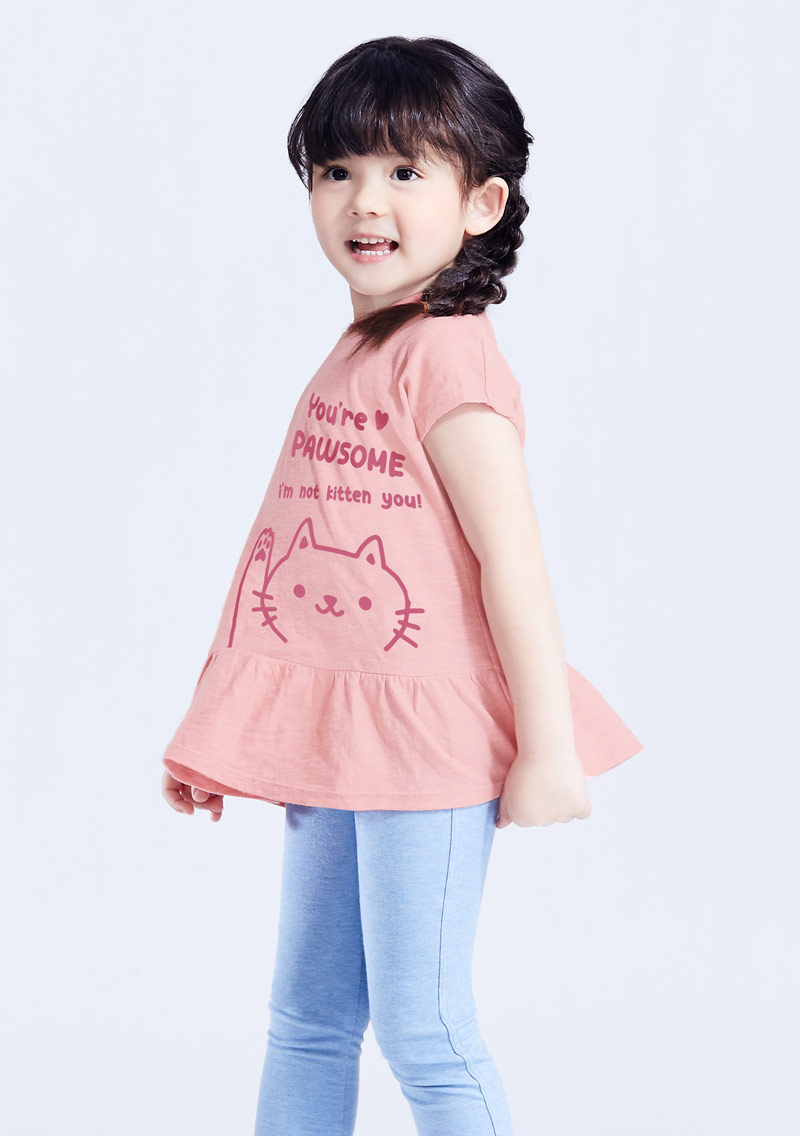 可愛貓咪竹節棉印花T恤-童裝