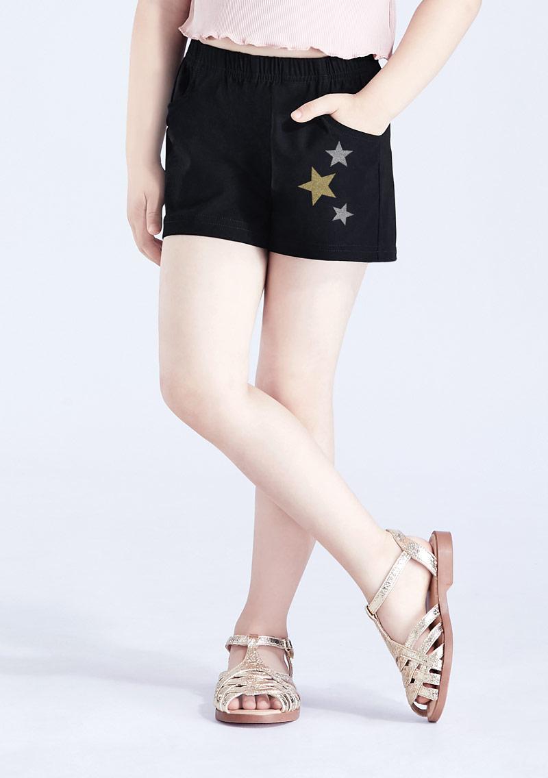 星星印花特級彈性涼感短褲-童裝