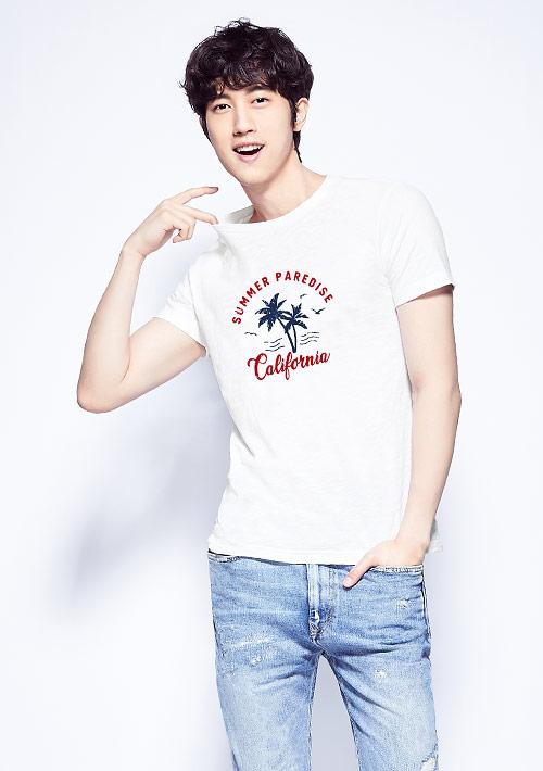 椰子樹竹節棉印花T恤-男裝
