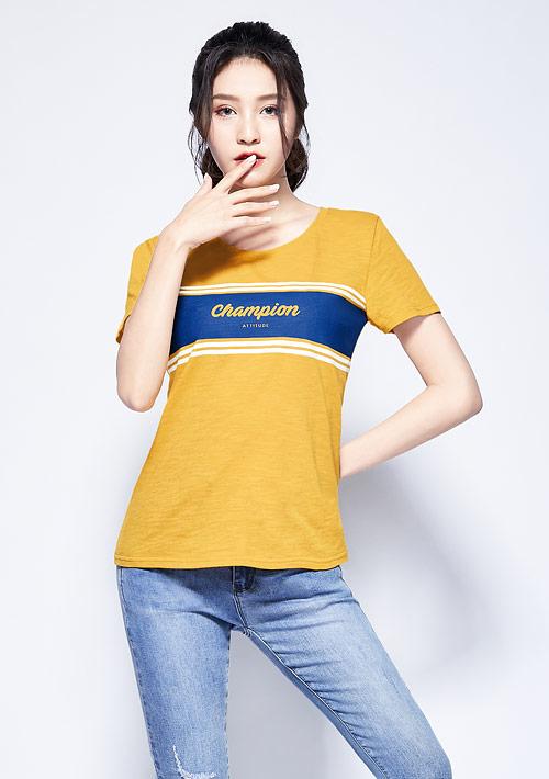 字母條紋竹節棉印花T恤