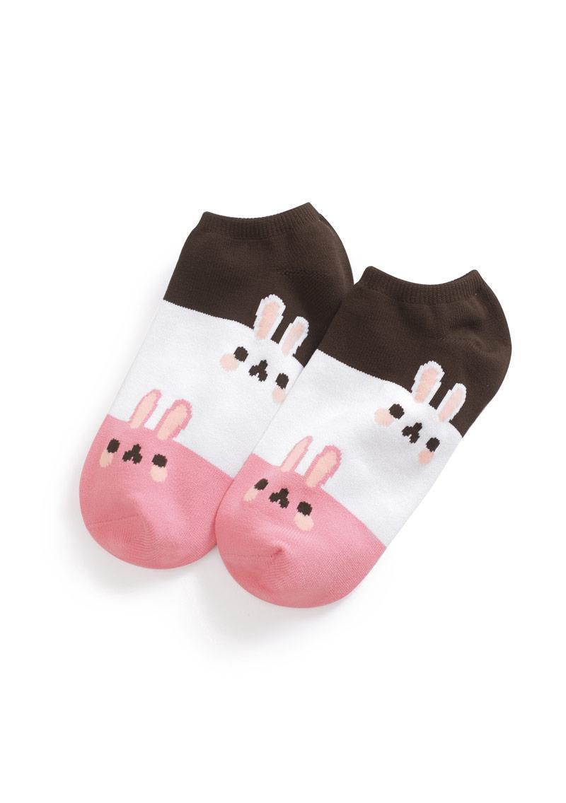 兔子涼感配色短襪