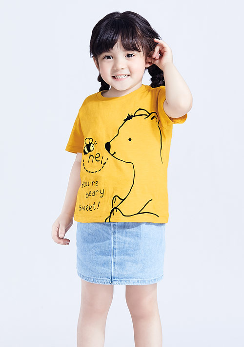 熊熊竹節棉印花T恤-童裝
