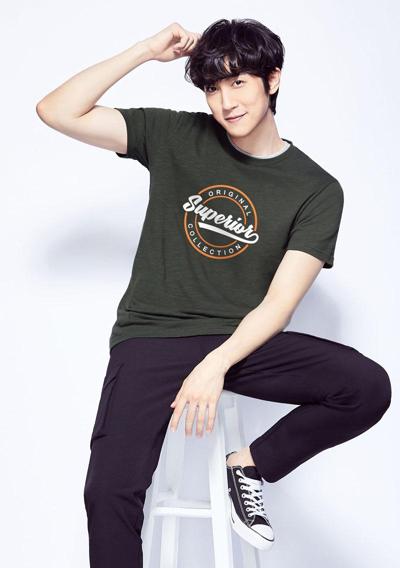 文字竹節棉印花T恤-男裝