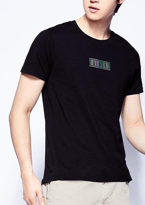 炫光文字純棉印花T恤-男裝