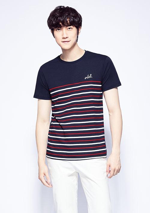【限時$168】條紋純棉印花T恤-男裝