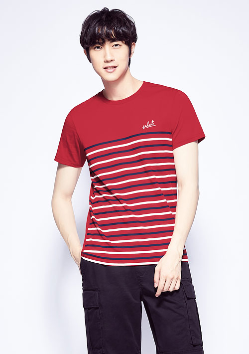 條紋純棉印花T恤-男裝