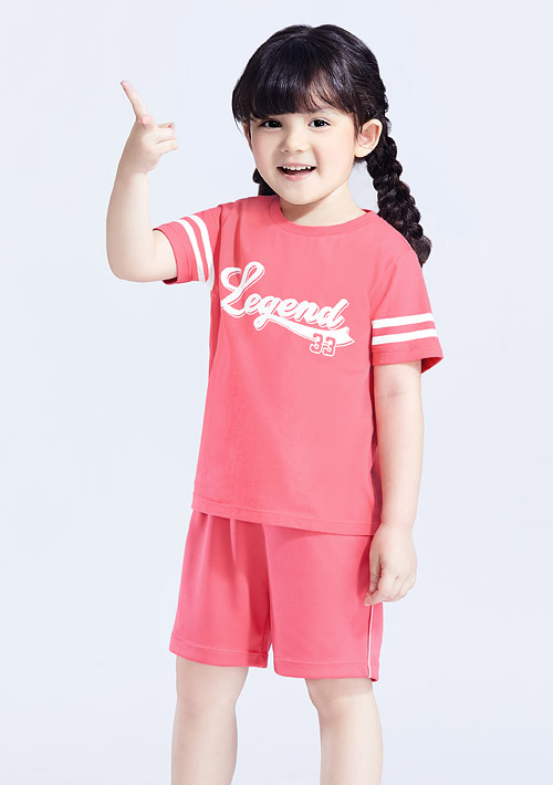 字母純棉條紋袖印花T恤-童裝