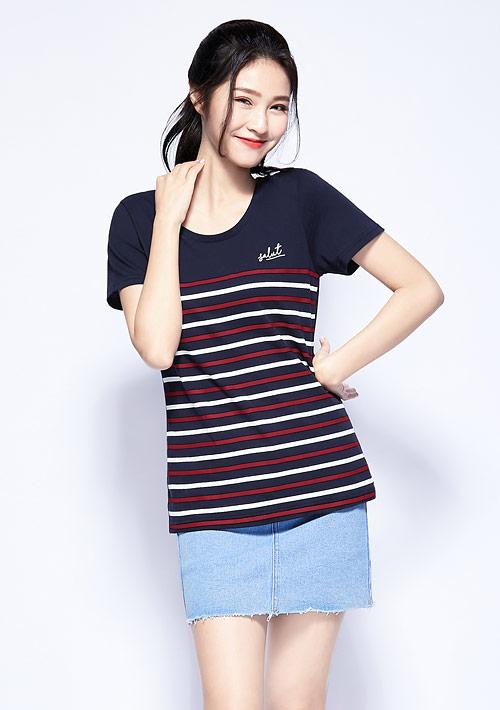 條紋純棉印花T恤