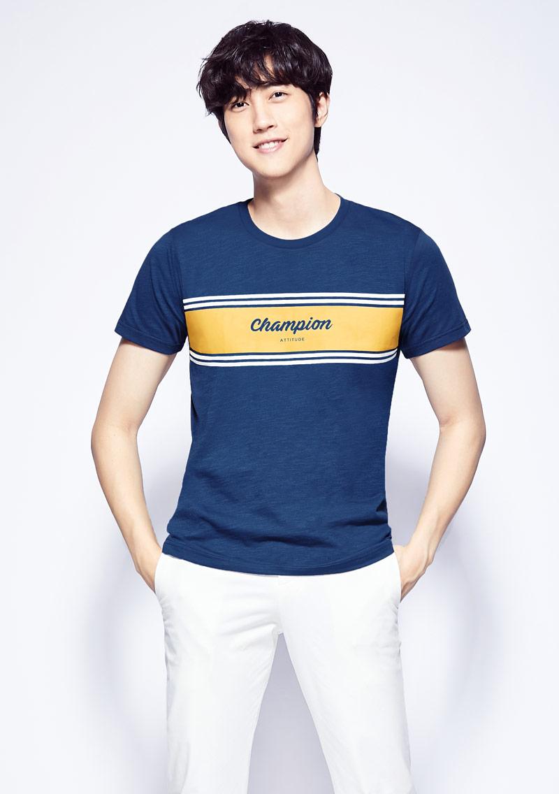 字母條紋竹節棉印花T恤-男裝
