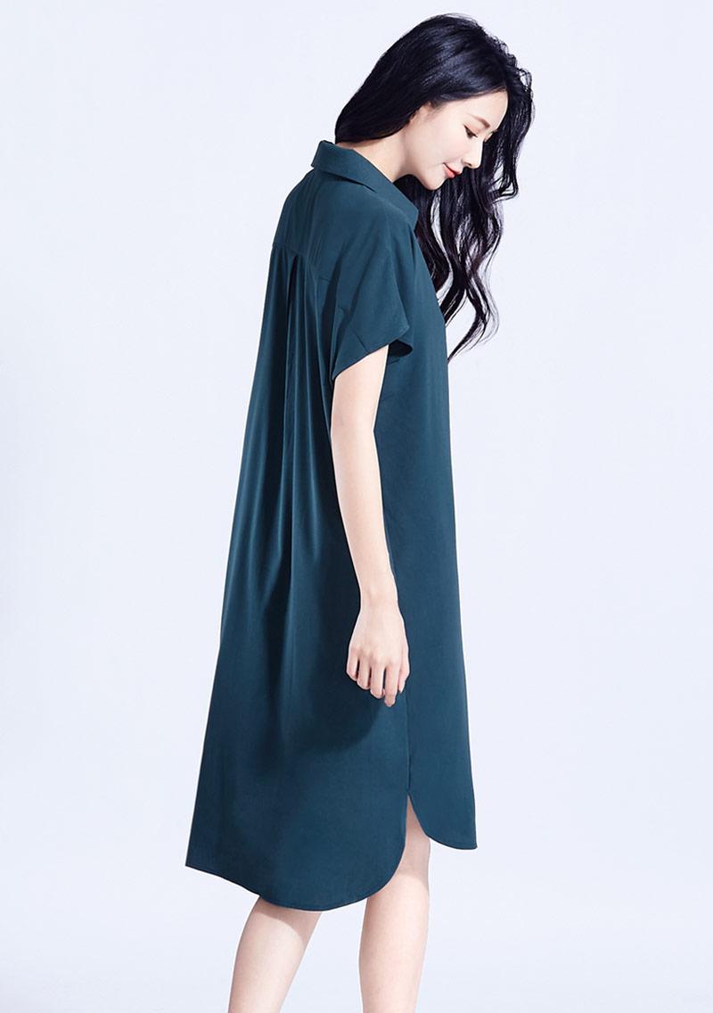 開襟雪紡長版洋裝