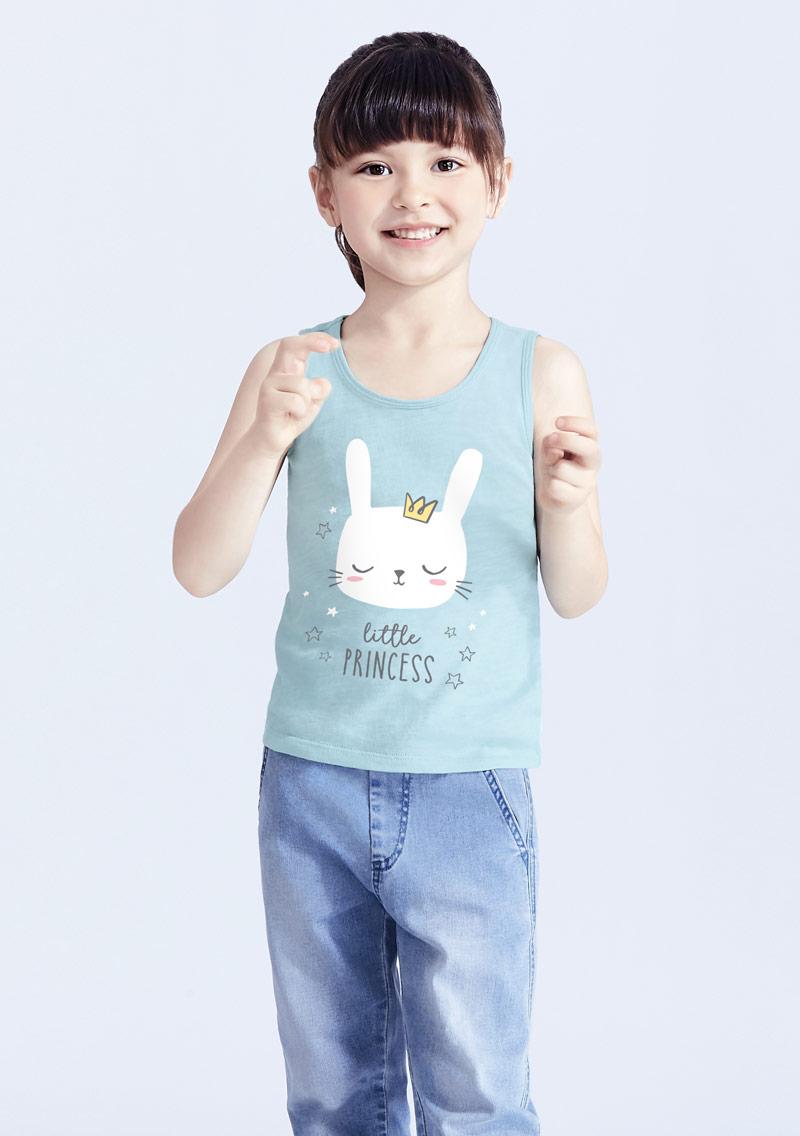 兔子竹節棉印花背心-童裝