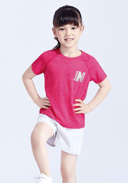 抗UV吸排涼感反光文字印花圓領上衣-童裝