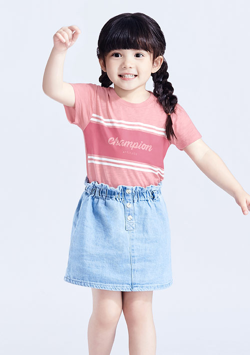 字母條紋竹節棉印花T恤-童裝