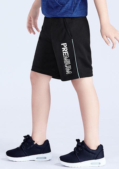 文字印花抗UV吸排拼色短褲-童裝