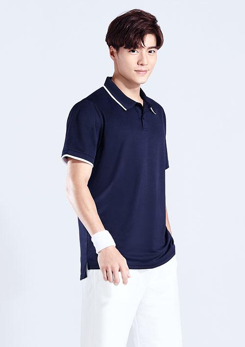 抗UV吸排短袖配色polo衫-男裝