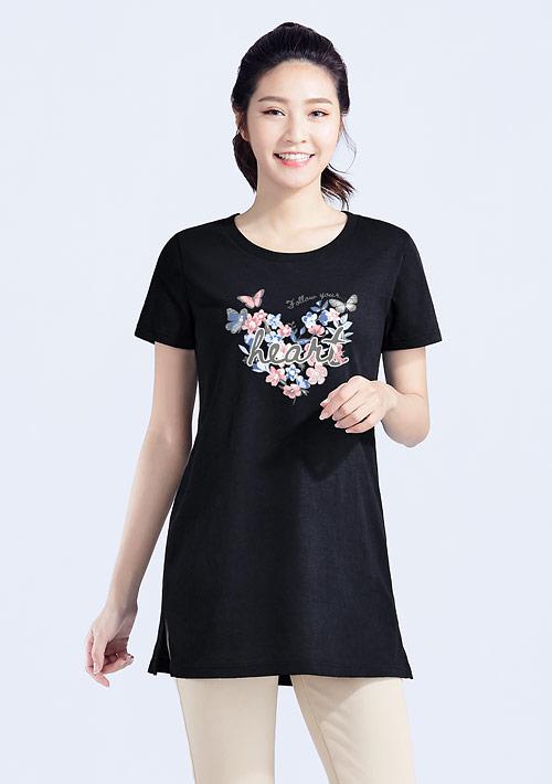 花卉蝴蝶竹節棉長版印花T恤