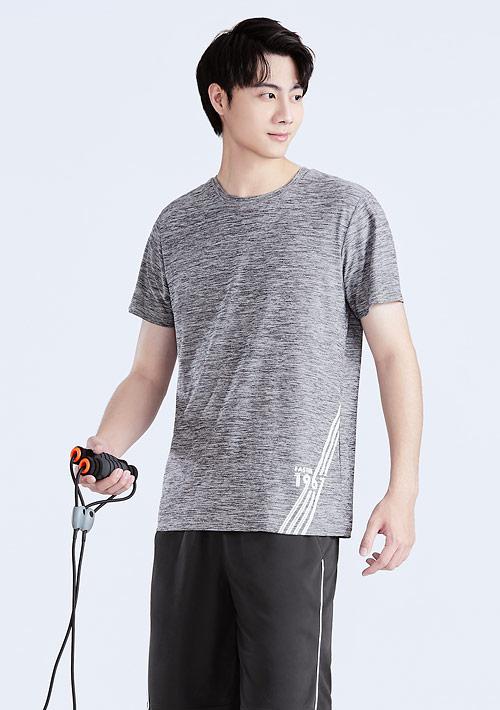 抗UV吸排涼感數字印花圓領上衣-男裝
