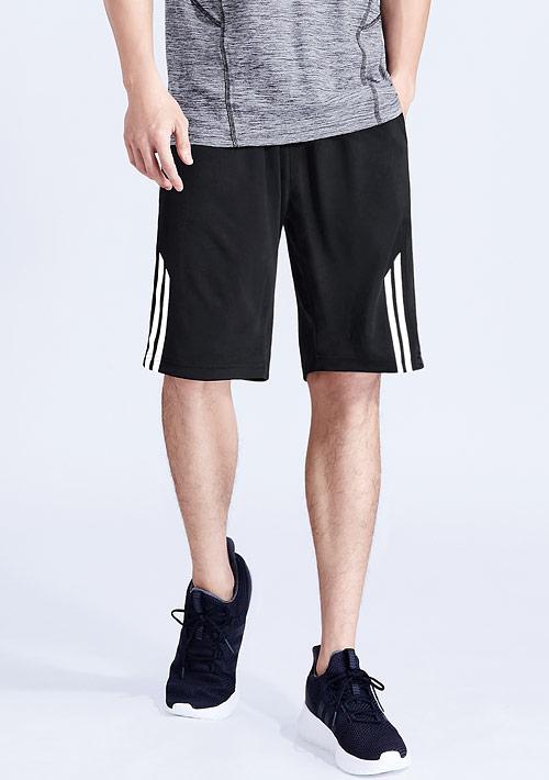 條紋印花抗UV吸排短褲-男裝